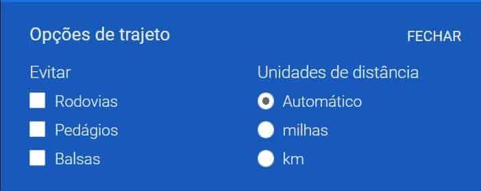 trajeto google maps